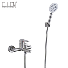 Wall Mounted Bath Shower Faucet With Hand Shower Stainless Steel Brush Nickel Finished ELS401