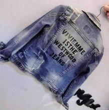 New Spring Autumn Harajuku Letters Denim Jacket Women Slim Hole Ripped Jeans Jacket BF style chaquetas mujer D1237