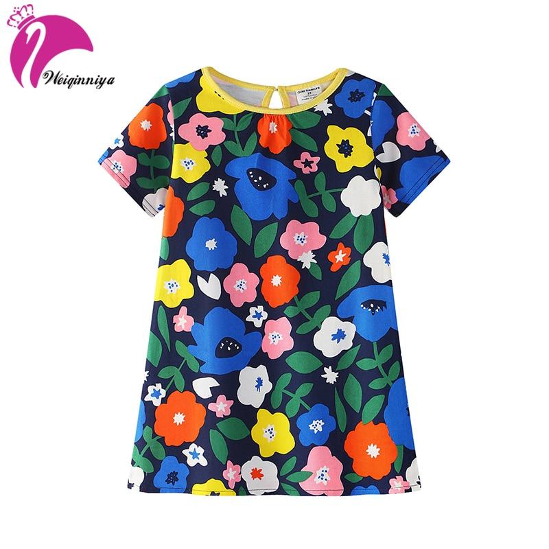 Girls Dress Colorful Cute Girls Dresses Girl Cartoon Pattern Dresses Summer Floral Print Cotton Dresses For Kids Costume For Kid<br>