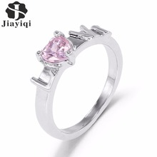 Silver color Women Gift Ring Paved Pink Green Stone Design High Quality Gift Jewelry Finger Ring Wedding Jewelry Wholesale 2017