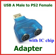 10pcs USB Male to PS2 Female Adapter Y-Splitter Plug 1 Male to 2 Female Connector with IC Chip Converter for PC Keyboard Mouse