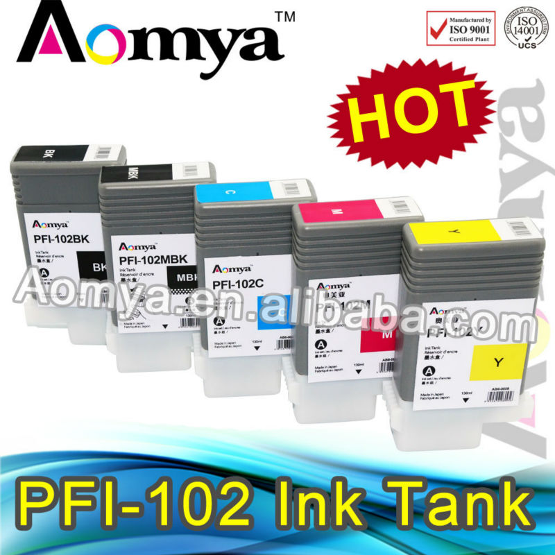6pcs/lot  Compatible Ink Cartridge PFI-102 with Premium Ink For Canon iPF700/710/720/765/760/650/655/750/755/600/610/605/500/510<br><br>Aliexpress