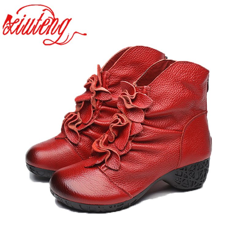 Xiuteng 2017 Winter Fashion Women Genuine Leather Boots Handmade Vintage Flower Ankle Botines Cow Leather Shoes With <br>