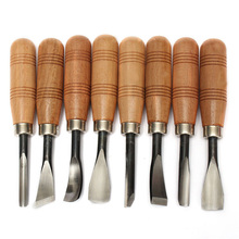 Promotions The Best Price 8Pcs  Dry hand Wood Carving Tools Chip Detail Chisel set Knives tool