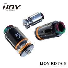 original IJOY RDTA 5 Tank with resin drip tip top refill adjustable side bottom airflow RTA ecig atomizer with prebuilt coils