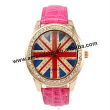 100pcs/lot wholesale 2016 fashion women's leather watches UK flag rhinestone watches for ladies girls wholesale watches(China)