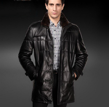 winter/Men Genuine Leather skin clothes/cotton sheep skin /lapel and Stand  collar/ long paragraph/big size/4XL/ tb231007