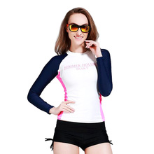 Women's Rash Guard Top Long Sleeve UPF 50+ UV Protection Patchwork Wetsuit Siwmsuit Surfing Shirt Rashguard Clothing 2016 New