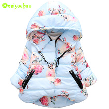 KEAIYOUHUO 2017 Winter Baby Girls Jackets Kids Warm Floral Print Jacket For Infant Girls Outerwear Coat Children Jacket Clothes