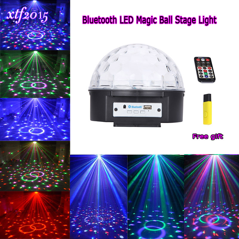 Bluetooth Crystal Magic Ball Led Stage Lamp Modes Disco Laser Light Party Lights Sound Control Christmas Laser Projector<br>