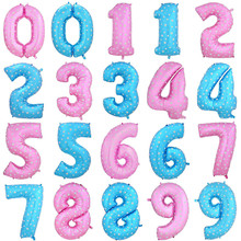 40Inch Large Blue Pink Dot Digit Number Helium Foil Balloons Happy Birthday Wedding Party New Year Decoration Balloon Kids Gift(China)