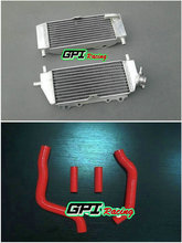 Aluminum Radiator with Red Hose for Kawasaki KX125 KX 125 2003 2004 2005 2006 2007 2008(China)