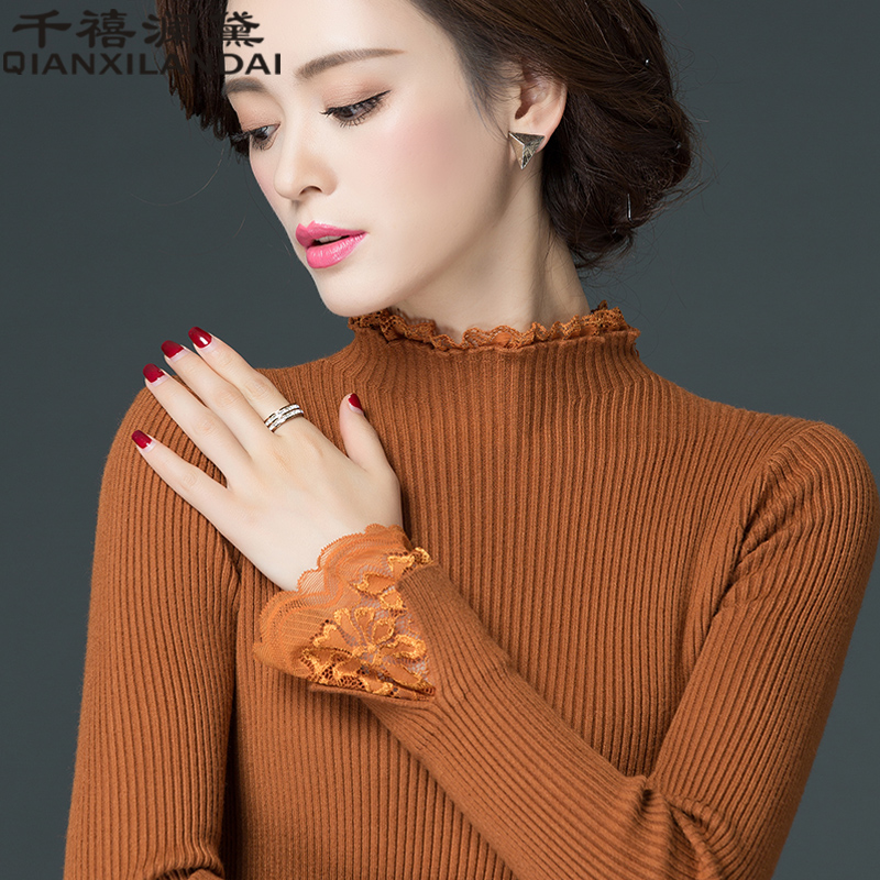2019 autumn and winter new style half height collar tight body, short jacket, long sleeved knitted , women's , thin sweater.