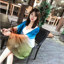 Mosoga 2017 Summer Imitated Silk Shawl Gredient Color Vacation Long Pashmia Contrast Color Wraps Oversized Beach Handkerchief(China)