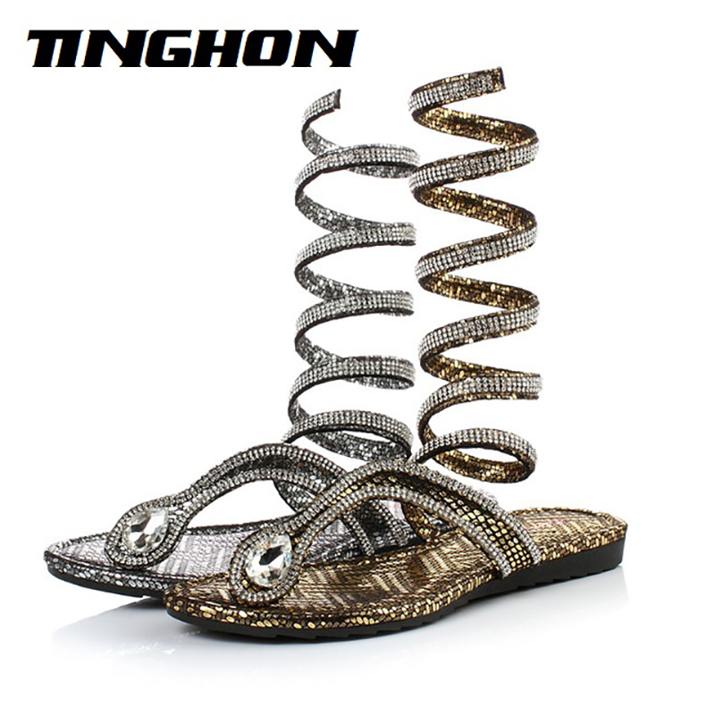 TINGHON Fashion summer style knee high gladiator sandals women Flat Sandals Snake Punk Rhinestone Boot Women Sandals 35-42 <br>