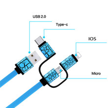 1M 3 In 1 Universal Type C Micro Usb Flat Noodle Shape Fast Charging Data Cable For Elephone  Redmi Mi4c iPhone Android Honor LG