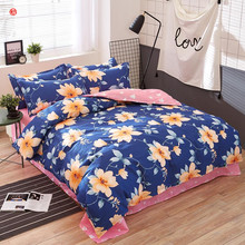 Home textile new blue flower bedding set king queen duvet cover set five size adult bedding queen bed sheet for Autumn Winter(China)