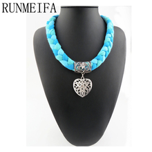 [RUNMEIFA]  2017 Fashion heart pendant scarf Necklaces scarf For Women Heart Pendant Necklace with colored braid scarf