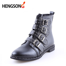 HENGSONG 2018 New PU Leather Rivets Booties Buckle Straps Thick Heel Black Ankle Boots Studded Decorated Motorcycle woman Boots(China)