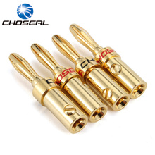 Choseal Banana Plugs 4PCS DIY Speaker Cable Connector Screws Free Soldering Pure Copper Terminal For Speaker Amplifier(China)