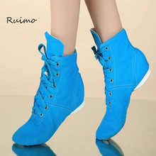 Dance Shoes Girl High Uppe Adult Children Canvas Jazz Boots New Practice Shoes Soft Bottom Dance Shoes Ballet Shoes Women Modern(China)