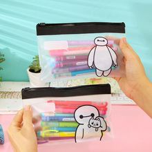 Cute Kawaii Cat Baymax Transparent PVC Zipper Pen Bag Pencil Case For Grils Korean Stationery School Supplies Free Shipping 1102