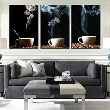 Customizable frame coffee cup coffee shop decoration painting canvas print Home Home Decor 3 board this Mosaic wall art(China)