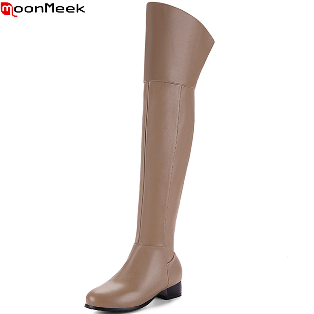MoonMeek fashion black khaki brown women boots round toe zipper ladies autumn winter boots elegant over the knee boots plis size<br>