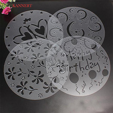 4pcs Baking Fondant Cake Stencil Template Mold Birthday Spiral Decoration cake biscuit stencil bakery tool fondant mold Bakeware(China)