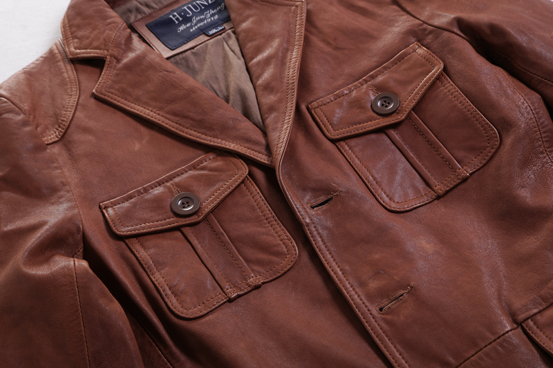 2017 New Business Casual men leather jacket Long Suit collar Single-breasted Brown Genuine Leather jacket