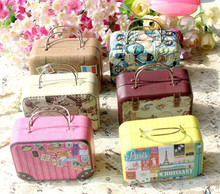 1pc 75*35*55mm Small Tin Vintage Party Rectangle Handbag Suitcase Luggage Shaped wedding tin box Handbag Favor Box,candy box
