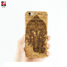 Elephant Laser Engrave Original Real Cork Wood Case ganesha Cover Cell Phone Protector Capa Coque For iPhone 5 SE 6 S 6PLUS 7(China)