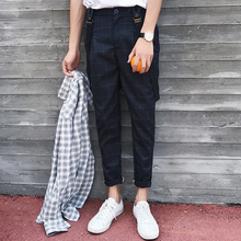 New 2017 men's clothing Hair Stylist casual Plaid British Academy wind straps pants suspenders bib pants singer costumes