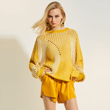 Young17 Autumn Sweater Women 2017 Yellow Pink Plain Pullover Casual Hollow Knitted Knitwear Fall Sweater Female Pullover Sweater(China)
