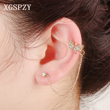 XGSPZY Inlaid Crystal Tassel Bowknot Ear Cuff Romantic Girls Wedding Gifts Link Chain Fringe Jewelry Rhinestone Clip Earrings(China)