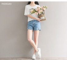 2017 summer new art large size wood ear edge denim shorts loose skinny hot jeans shorts solid blue Casual Jeans Shorts(China)