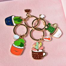 Luxury Romantic Succulent Plants Keychain For Women Enamal Simple Personality Key Chain Car Key Accessories Valentine Gift