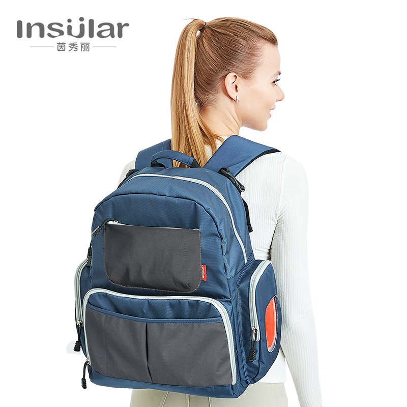 Insular waterproof multi-functional shoulder Mummy bag Daddy large-capacity mother and child out backpack<br>