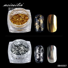 Meicailin 0.1g Gold Silver Glitter Aluminum Flakes Magic Mirror Effect Powders Sequin Nail Gel Polish Chrome Pigment Decorations