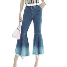 European Style Ladies Flared Slim Stretch Pants Nine patchwork gradient color light wash edge middle waistline western Jeans