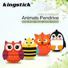 cute cartoon Animal USB Flash Drive 64g 32g 16g Fox/bee/Owl/Penguin Pen Drive 4gb 8gb Pendrive Computer USB Drive U Disk gift(China)