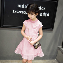 Kids Summer Clothes for Girls 4 5 6 7 8 9 10 11 12 13 Years Kids Solid Gray Pink Mesh Cheongsam Girls New Style Party Dress 559B