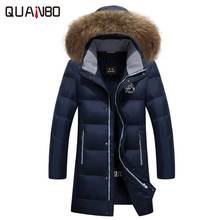 2017 New Winter Keep Warm Coat Casual Men Down Jacket Men's Brand White Duck Down Fur Collar Hooded Long Parka Plus Size 5XL 6XL