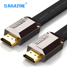 SAMZHE Flat HDMI Cable luxury Gold plated HDMI 2.0 Male to Male 4K*2k 60hz 18Gbps high Speed for HD TV PS3 PS4 xbox laptop pc(China)