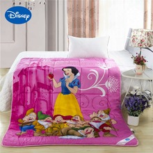Princess Snow White and the 7 Dwarfs Comforter Disney Character Cotton Cover Girls Bedroom Decor Single Twin Queen Size Magenta(China)