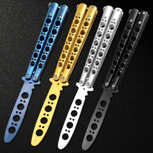 440C Stainless Steel knife butterfly Practice Butterfly Training Knife Black butterfly knife Special holes free shipping