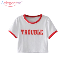 Aelegantmis White Fashion Summer Crop Tops Women Vintage Ringer T Shirt Short Casual Tees Short Sleeve Letter Print O Neck 2017
