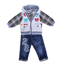 Pettigirl Cute 3PCS Boys Clothing Set Stripe Pattern Coat+T-shirt + Blue Jeans Autumn Wear Children Clothing CS30202-05(China)