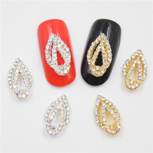 10psc New Color drop glitter rhinestones 3D Nail Art Decorations,Alloy Nail Charms,Nails Rhinestones Nail Supplies #690-691(China)