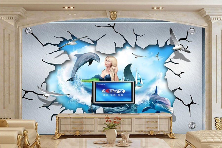 Custom large murals papel de parede,Cartoon dolphin effect  stereo wallpaper, living room sofa TV wall bedroom 3d kids wallpaper<br>